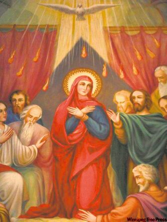 Pentecost depicting Mary and the disciples receiving the Tongues of Fire from the Holy Spirit.