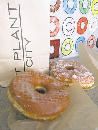 Mmmm - doughnuts! The vanilla bean and coconut varieties at Doughnut Plant.