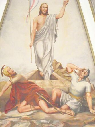 Detail of The Resurrection, painted on the sanctuary ceiling by Arthur Godin in 1935.