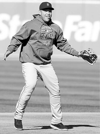 jeff chiu / the associated press Detroit Tigers' Miguel Cabrera practises Monday in preparation for today's Game 3 in Oakland.