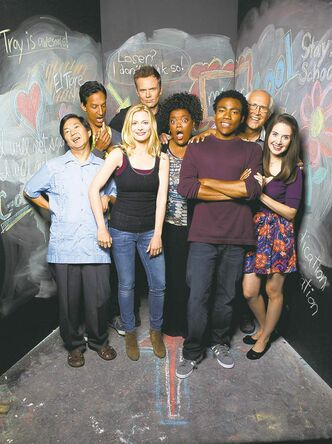 UNDATED --  COMMUNITY -- Season: 2 -- Pictured: (l-r) Ken Jeong as Sen��or Chang, Danny Pudi as Abed, Gillian Jacobs as Britta, Joel McHale as Jeff Winger, Yvette Nicole Brown as Shirley, Donald Glover as Troy, Chevy Chase as Pierce,  Alison Brie as Annie -- Photo by: Mitchell Haaseth/NBC  For Alex Strachan (Postmedia News)TV-COMMUNITY.   For Sheri Levine (Postmedia News)    TV-COMMUNITY-JOEL-MCHALE