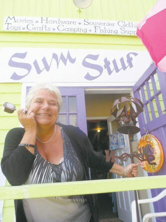 Karin Bartel runs the lime-green hardware, beach gear and gift store called Sum Stuff.