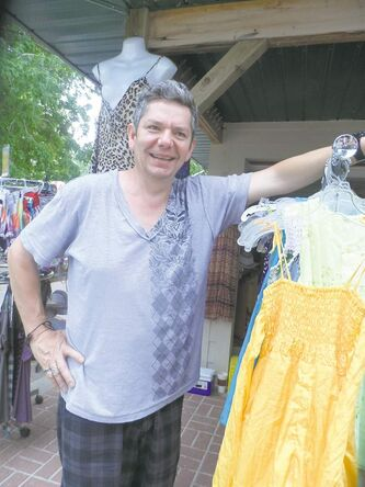 Olivia's Beach Boutique owner Darrell Flett says his 13-year-old daughter picks out most of the clothes that he sells.