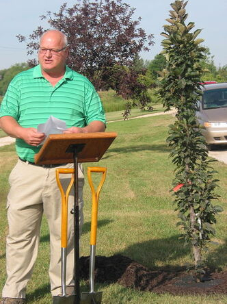 RM of Cartier reeve Roland Rasmussen spoke at a tree planting ceremony in Elie on Aug. 27.