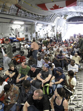 Canadians being airlifted out of Haiti on the Globemaster.