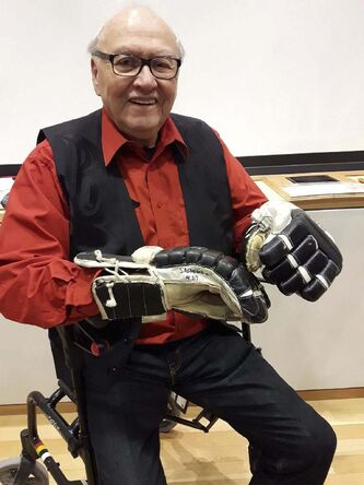 <p>SUPPLIED</p><p>An accomplished athlete, Fontaine poses following the official unveiling of a display of Sagkeeng Oldtimers artifacts at the Hockey Hall of Fame in Toronto in 2018. The team, made up primarily of residential school survivors, competed internationally, winning world cup titles in 1987 and 1989.</p>