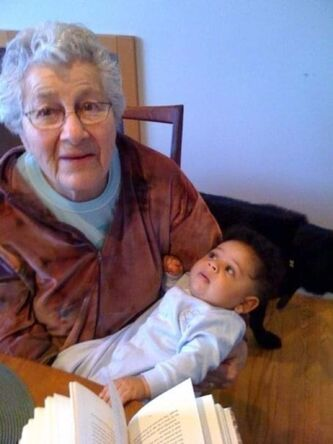 <p>Supplied</p><p>Waldman with one of her five great-grandchildren.</p>