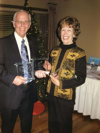 <p>supplied photos</p><p>Rick and his sister, Judy Peake, at their 2008 induction into the Tennis Manitoba Hall of Fame. They won five Manitoba Open mixed doubles titles together.</p>