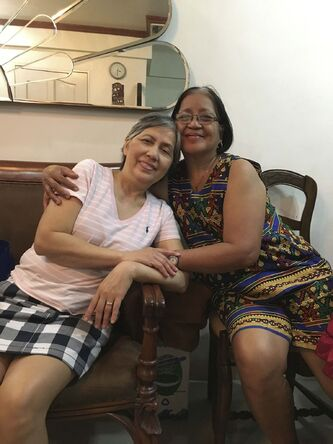 <p>SUPPLIED</p><p>Gloria and sister Flora in the Philippines in February 2020.</p>