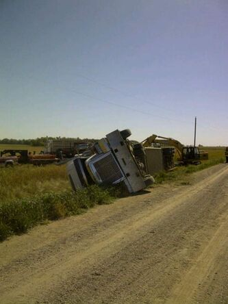 A cattle truck overturned near Brandon Friday. There were 64 animals in the trailer. No word on injuries.