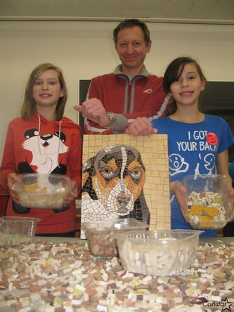 Dimitry Melman spent a week teaching students at Carpathia School how to create mosaics.