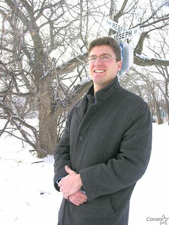 Mathieu Allard stands in the Pointe Hébert area of St. Boniface.