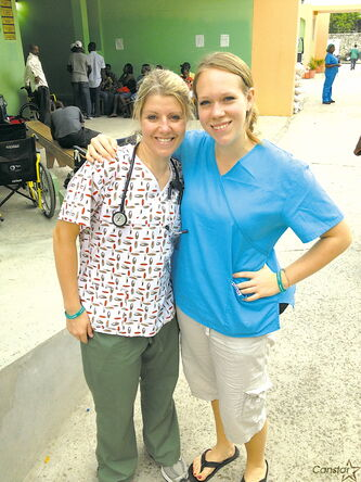 Kelsey Penner (left) and Caitlin Makodanski pictured recently in Haiti.