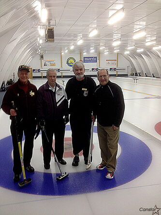Al Wareham (from left), Wayne Scott, Bill Reid and George Fraser are having a ball in yet another MCA Bonspiel.