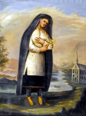 Undated reproduction of a 17th-century painting of Kateri Tekakwitha, a Mohawk woman who was canonized Sunday.