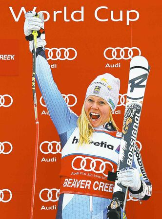 Sweden's Jessica Lindell-Vikarby ignored the clamour to post the day's fastest time.