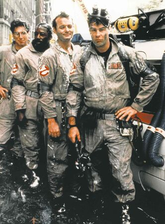 Harold Ramis, Ernie Hudson, Bill Murray and Dan Aykroyd in the movie Ghostbusters.