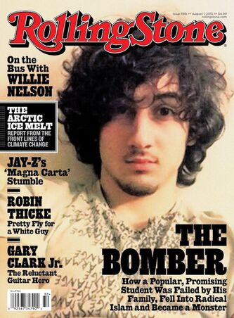 Boston Marathon bombing suspect Dzhokhar Tsarnaev appears on the cover of the Aug. 1 issue of Rolling Stone.