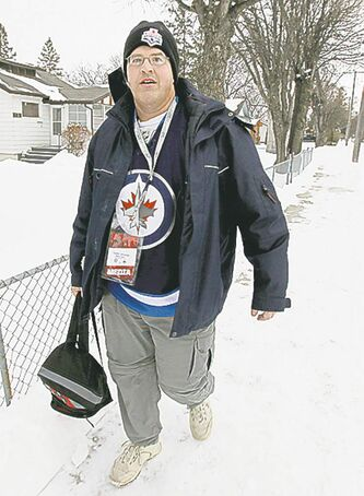 Gabe heads out to catch a bus to the game