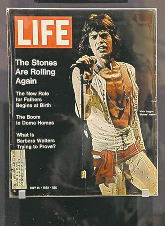 A 1972 Life cover of Mick Jagger is displayed at the Rock and Roll Hall of Fame in Cleveland.