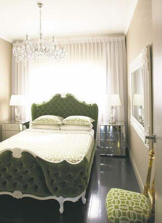 In a narrow space, common sense dictates the bed should run the same way as the elongated room.