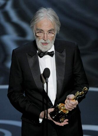 Michael Haneke accepts the award for best foreign language film for 'Amour,' from Austria during the Oscars at the Dolby Theatre on Sunday Feb. 24, 2013, in Los Angeles.