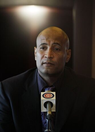 Cleveland Indians bench coach Sandy Alomar Jr., listens to a question during a baseball news conference following his interview for the manager position with the Chicago Cubs at Wrigley Field, in Chicago on Friday, Nov. 11, 2011. (AP Photo/Nam Y. Huh)