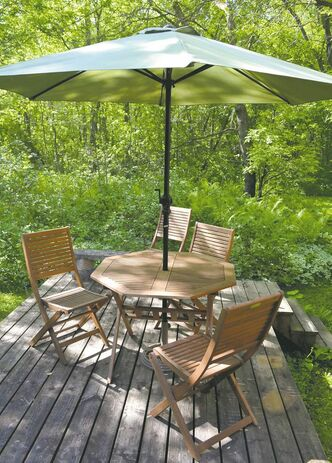 Jysk solid eucalyptus table and four chairs, about $250. Umbrella sold separately for about $90. Stand sold separately for about $50.