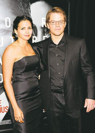 "Actor Matt Damon and his wife, Luciana, attend the world premiere of ""The Adjustment Bureau"" at the Ziegfeld Theatre on Monday, Feb. 14, 2011, in New York. (AP Photo/Evan Agostini)"