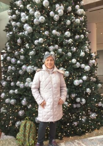 <p>SUPPLIED</p><p>Gloria Ongasco De Paz-Hryniuk visited Times Square and Macy's in New York at Christmastime with friends in 2019.</p>