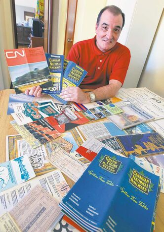BORIS MINKEVICH / WINNIPEG FREE PRESS Brian Schuff's collection of train tickets and schedules .