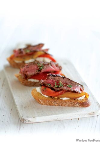 Sumptuous steak bruschetta.