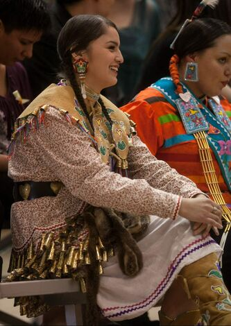 Shawna Olson, 21, laughs during the certificate ceremony at the 2012 Traditional Graduation PowWow at University of Manitoba on Saturday.