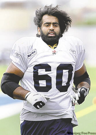 'I'm sure the people who live in the apart­ment underneath me were getting a little pissed off with two 300-pound guys go­ing over their run­blocking steps' -- Bomber centre Obby Khan