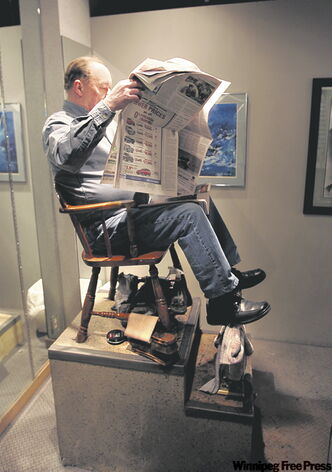 Jimmy Duguay takes a break from being one of Winnipeg's last shoeshiners.