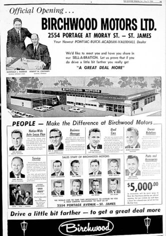 A Birchwood Motors ad that ran in the Winnipeg Tribune in May 1964.