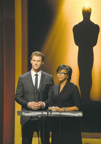 Chris Hemsworth and Academy President Cheryl Boone Isaacs announce  the 86th Academy Awards nominations in Beverly Hills Thursday.