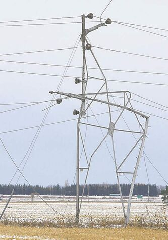 A hydro structure collapsed near Beausejour during Thursday's storm.