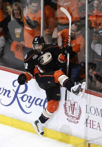 Anaheim Ducks' Mathieu Perreault celebrates a goal against Dallas Stars during the first period in Game 1 of the first-round NHL hockey Stanley Cup playoff series on Wednesday, April 16, 2014, in Anaheim, Calif.