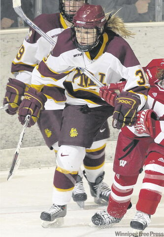 Jocelyne Larocque (top), Melanie Ga­gnon and Bailey Bram are all playing in this weekend's Frozen Four for the NCAA women's championship.
