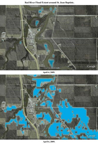 These satellite images released by Manitoba Water Stewardship show the flood extent on the Red River from April 4-6, 2009 around St.Jean Baptiste, Man.