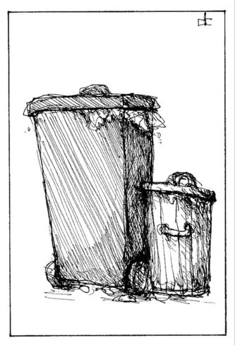 October 19 2011 edit dinky DALE CUMMINGS / WINNIPEG FREE PRESS / GARBAGE CANS TRASH