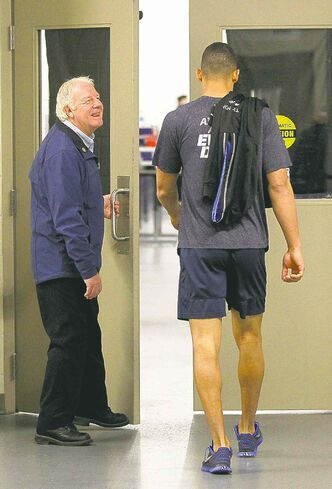 Evander Kane enters the dressing room at the MTS Iceplex after an off-ice workout Monday.