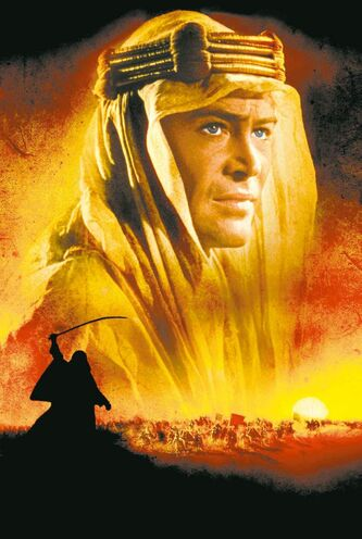 An image from the promotional poster for the 1962 film, Lawrence of Arabia.