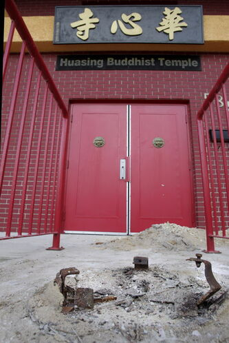 A  bronze decorative urn was stolen from the front of the Huasing Buddhist Temple on Cumberland Avenue this week.