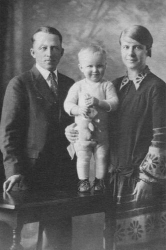 Carl and Alice Piper with son, Eric, in 1930. Carl, a resident of the RM of Cartier, was one of the community's centenarians. Born Jan. 7, 1889, he died Jan. 27, 1993.
