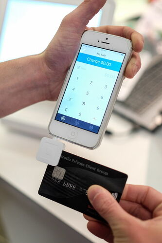 The Square reader is becoming more popular with retail business owners. The small device plugs into the headphone jack of a smartphone. The fee is 2.75 per cent of each transaction.
