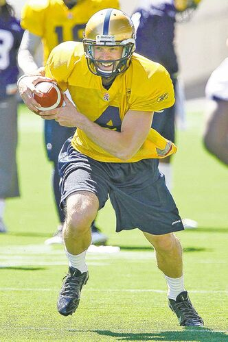 Winnipeg Blue Bombers quarterback Buck Pierce runs a drill Sunday.