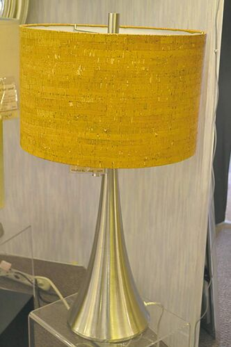 Lamp with cork shade and brushed metal base, from Robinson Lighting.