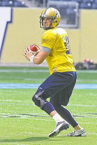 Quarterback Justin Goltz wears a knee brace during practice Wednesday.